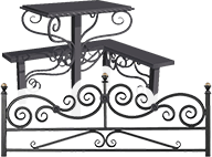 Памятник, оградка, лавка, столик